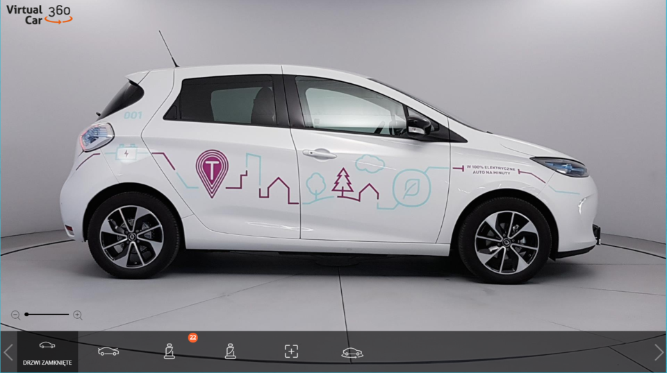 Renault ZOE in 360 view available via Virtual Car 360 Player