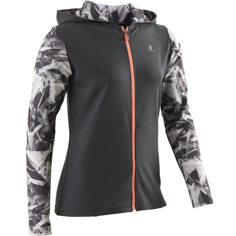 Decathlon, bluza z kapturem na zamek gym & pilates S900 dla dzieci Domyos, 64,99 PLN.jpg