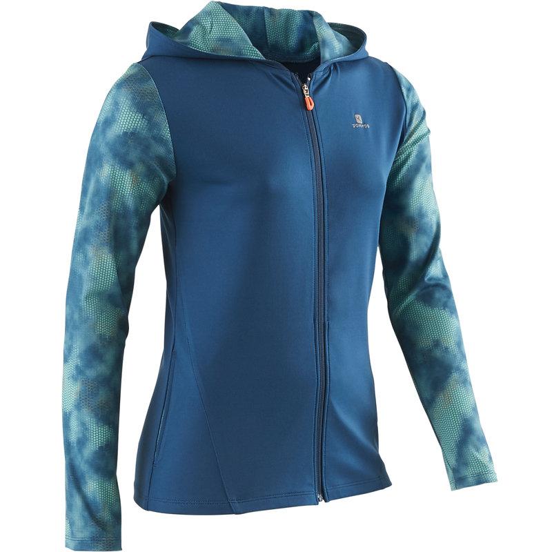 Decathlon, bluza z kapturem na zamek gym&pilates S900 dla dzieci Domyos, 64,99 PLN.jpg