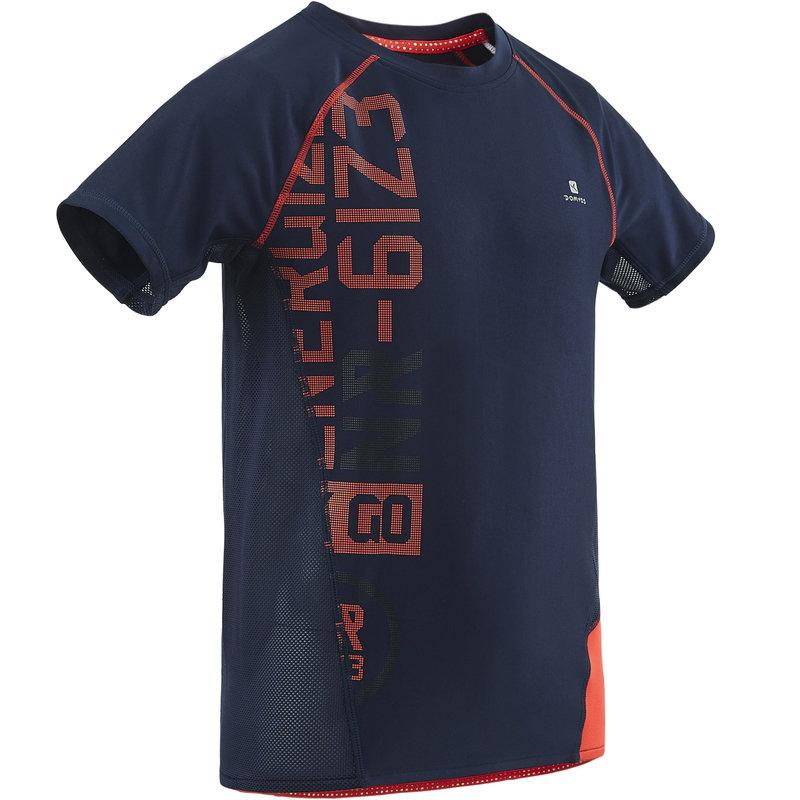 Decathlon, koszulka krótki rękaw do gimnastyki S900 slim dla dzieci Domyos, 54,99 PLN (3).jpg