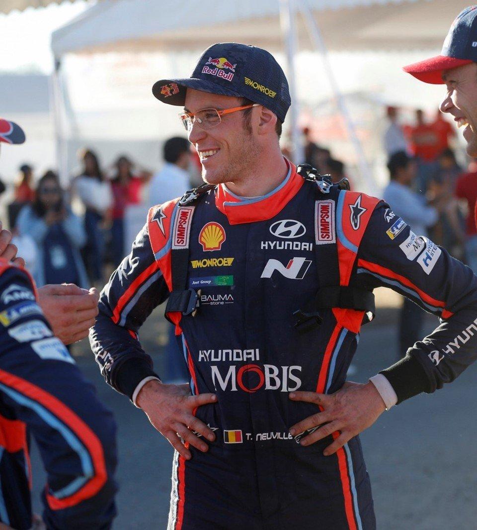 Thierry Neuville, kierowca w zespole Hyundai Shell Mobis World Rally Team. Rajdowy trzykrotny wicemistrz świata z 2013, 2016 i 2017 roku