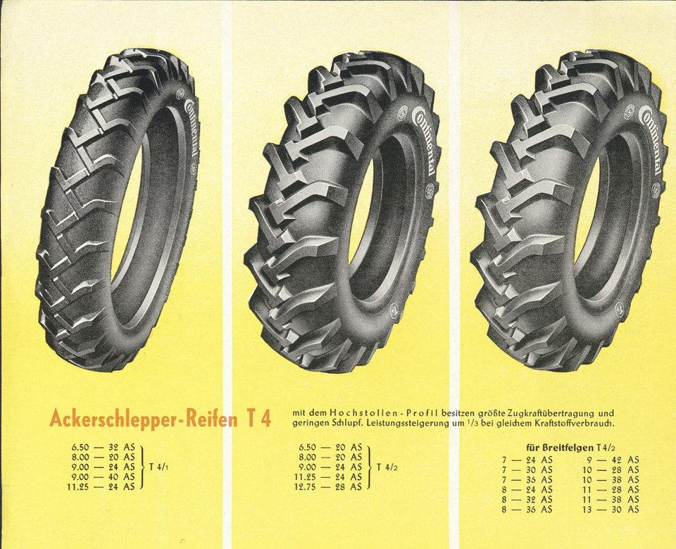 Innowacja bieżnika<br>W postaci modelu T4 AS Continental wytwarza pierwszą w Niemczech oponę o niesplecionym profilu.