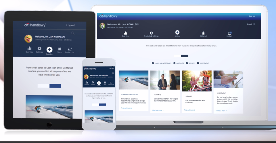Latest Citibank Online version design was created based on focus groups with customers.