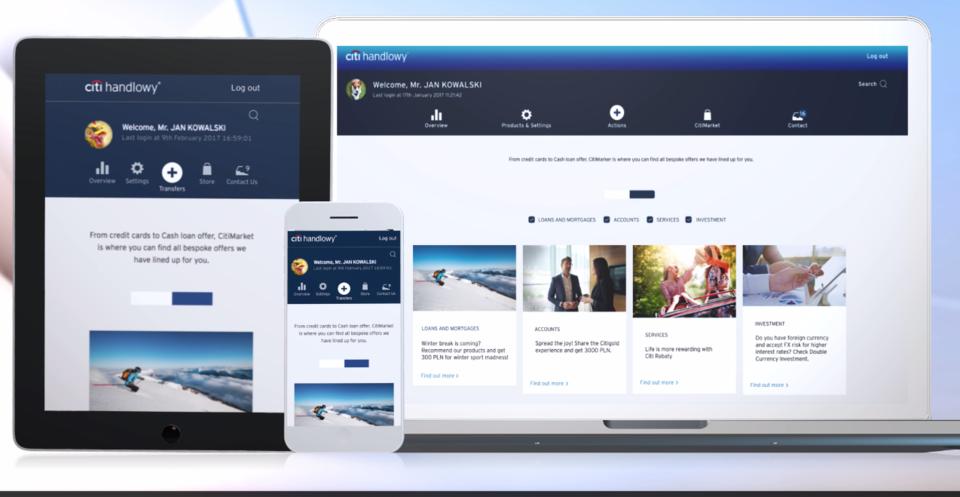 Prace nad Citibank Online bazowały na grupach focusowych z klientami, których uwagi i komentarze przełożyły się na finalną wersję serwisu.
