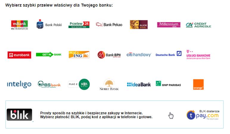 BLIK jest dostępny jako jeden ze sposobów płatności w procesie zakupowym OleOle.pl. BLIK dostarcza Tpay.com
