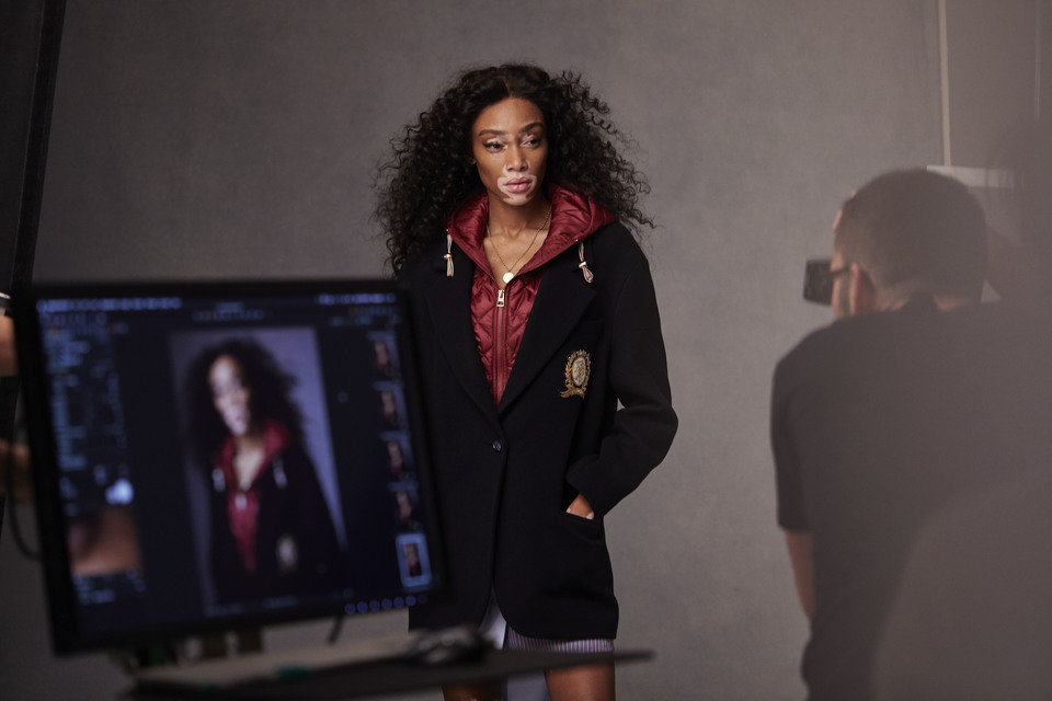 Winnie Harlow Tommy Icons Blazer BTS Fall 18 High Res.jpg