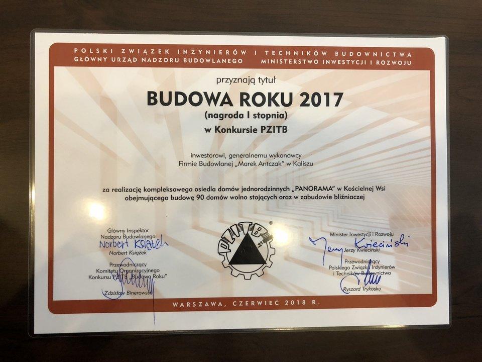 Dyplom Budowa Roku 2017