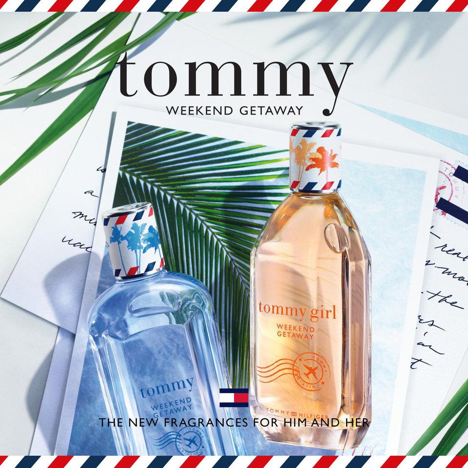 Tommy Hilifiger przedstawia zapach Tommy Girl Weekend Getaway. Świeży, soczysty owoc marakui łączy się z gardenią tahitańską, kwiatem pomarańczy, jaśminem i wyciągami z wanilii. Charakterystyczny dla marki flakonik zdobi frywolne logo TOMMY GIRL i znaczek pocztowy, a do zamknięcia służy kolorowa nakrętka.