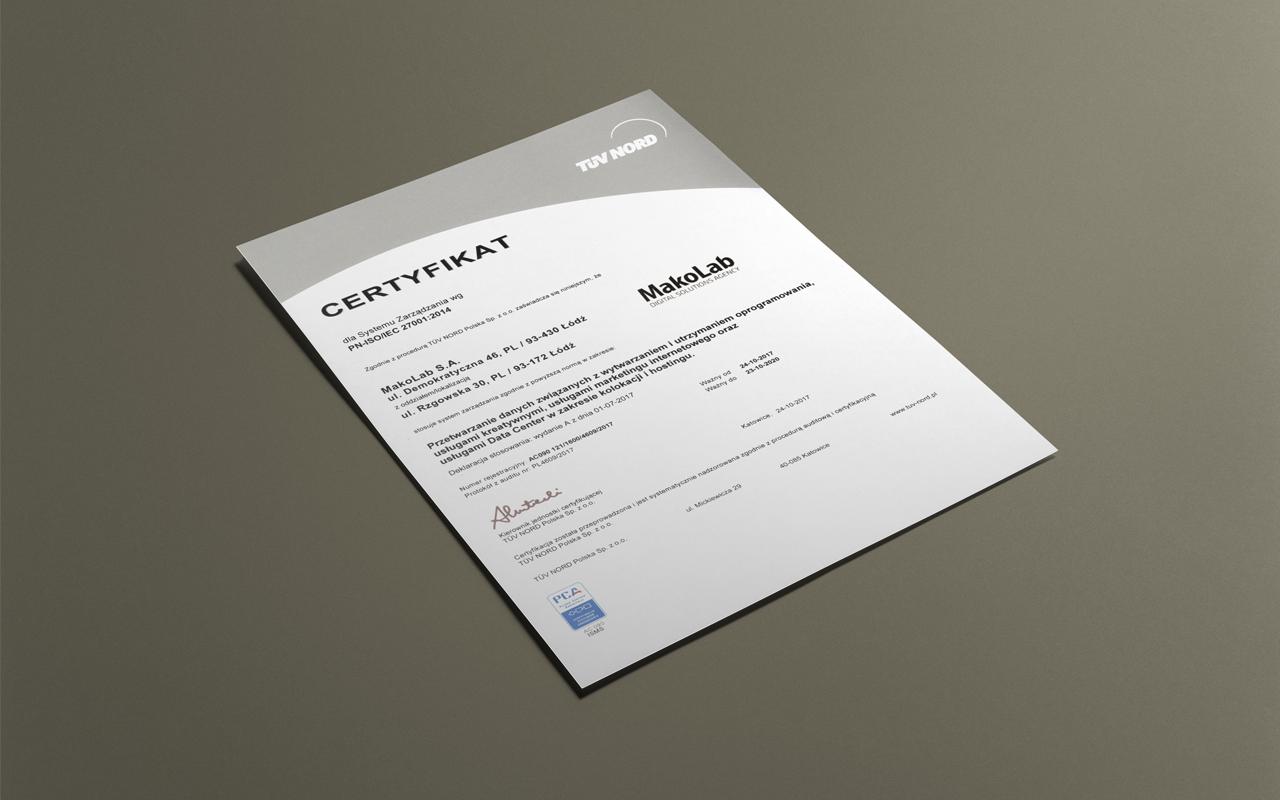 MakoLab achieves ISO 27001 certification