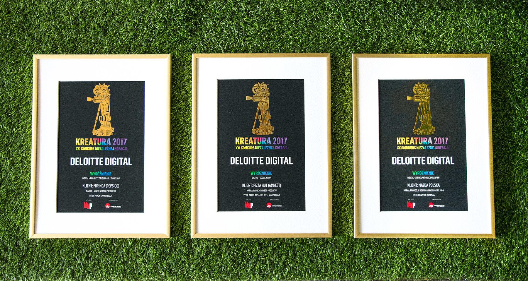 Kreatura 2017 - trzy wyróżnienia dla Deloitte Digital