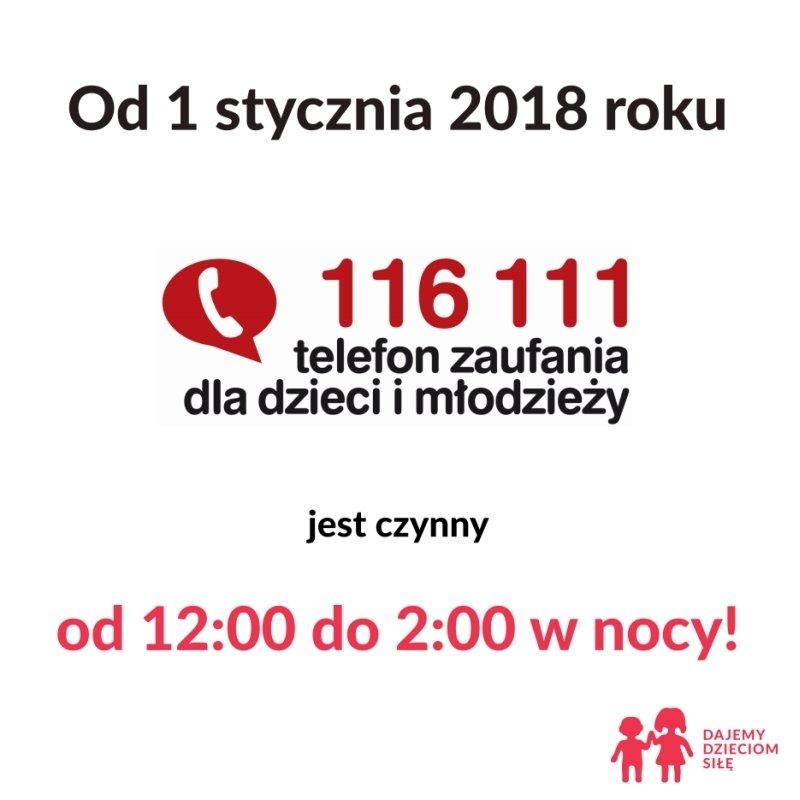 Telefon Zaufania dla Dzieci i Młodzieży 116 111 – teraz także nocą!