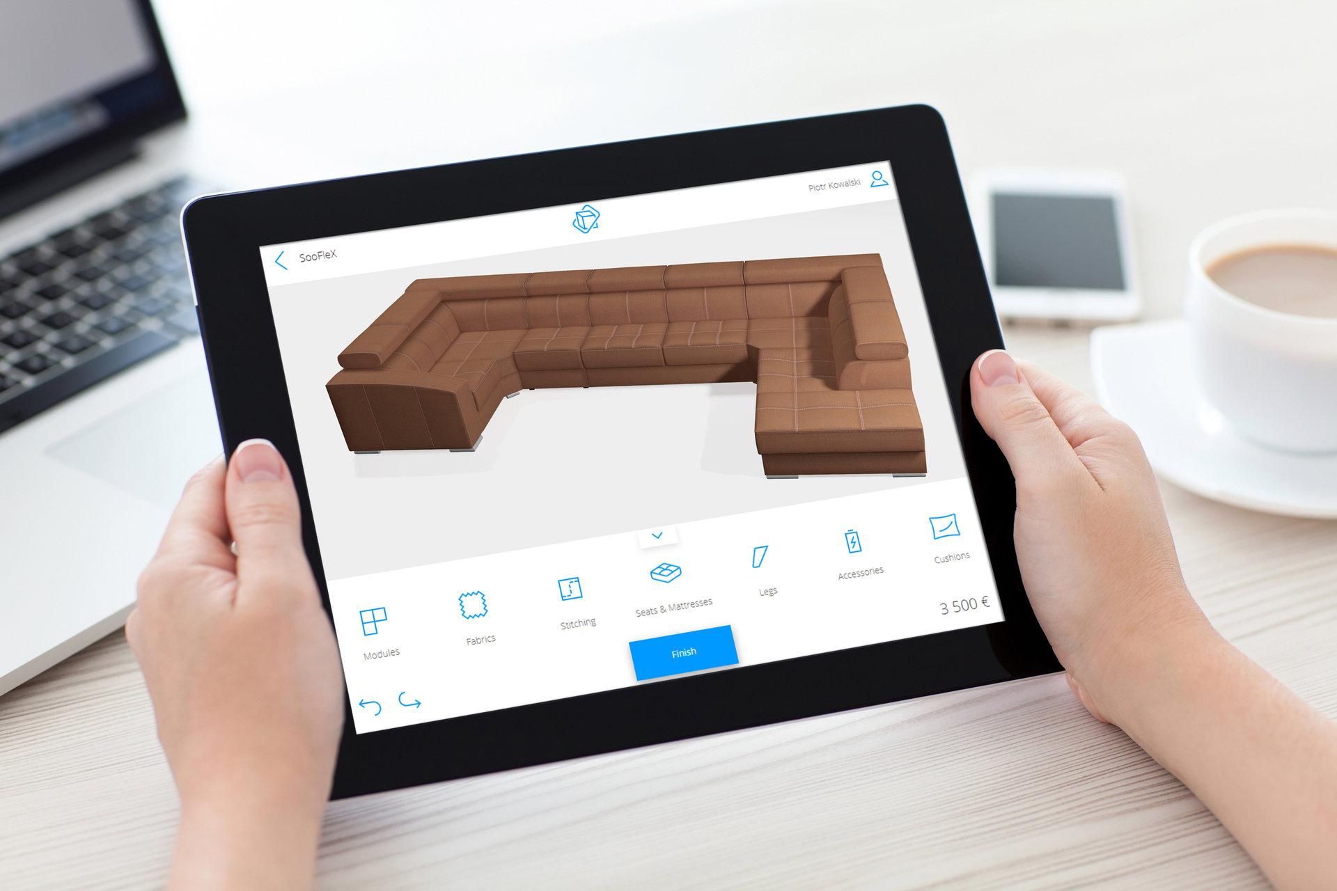 Konfigurator mebli w 3D dla marki Poldem – aplikacja mobilna