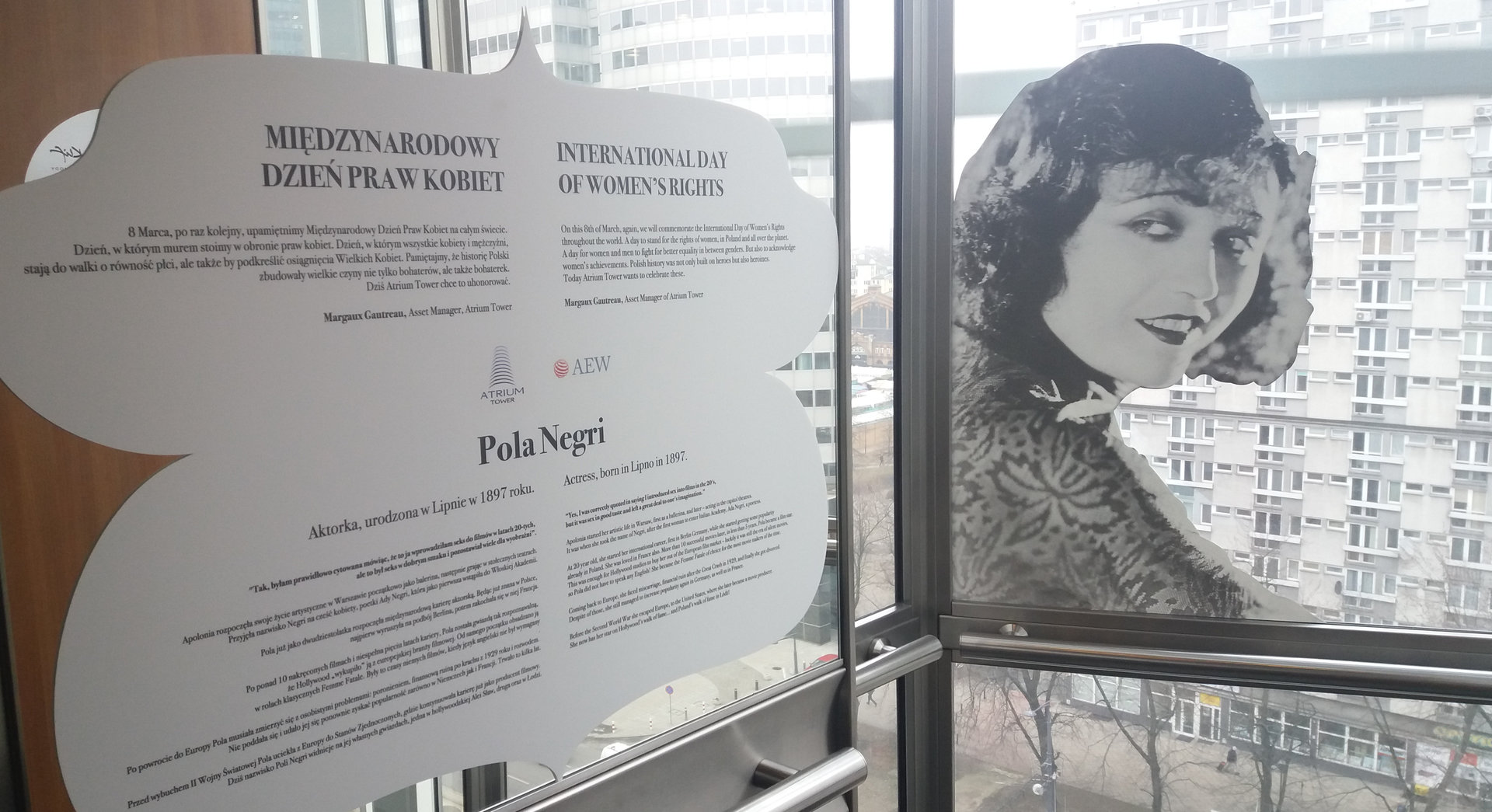 Famous Polish women at Atrium Tower for International Fay for Women's Rights