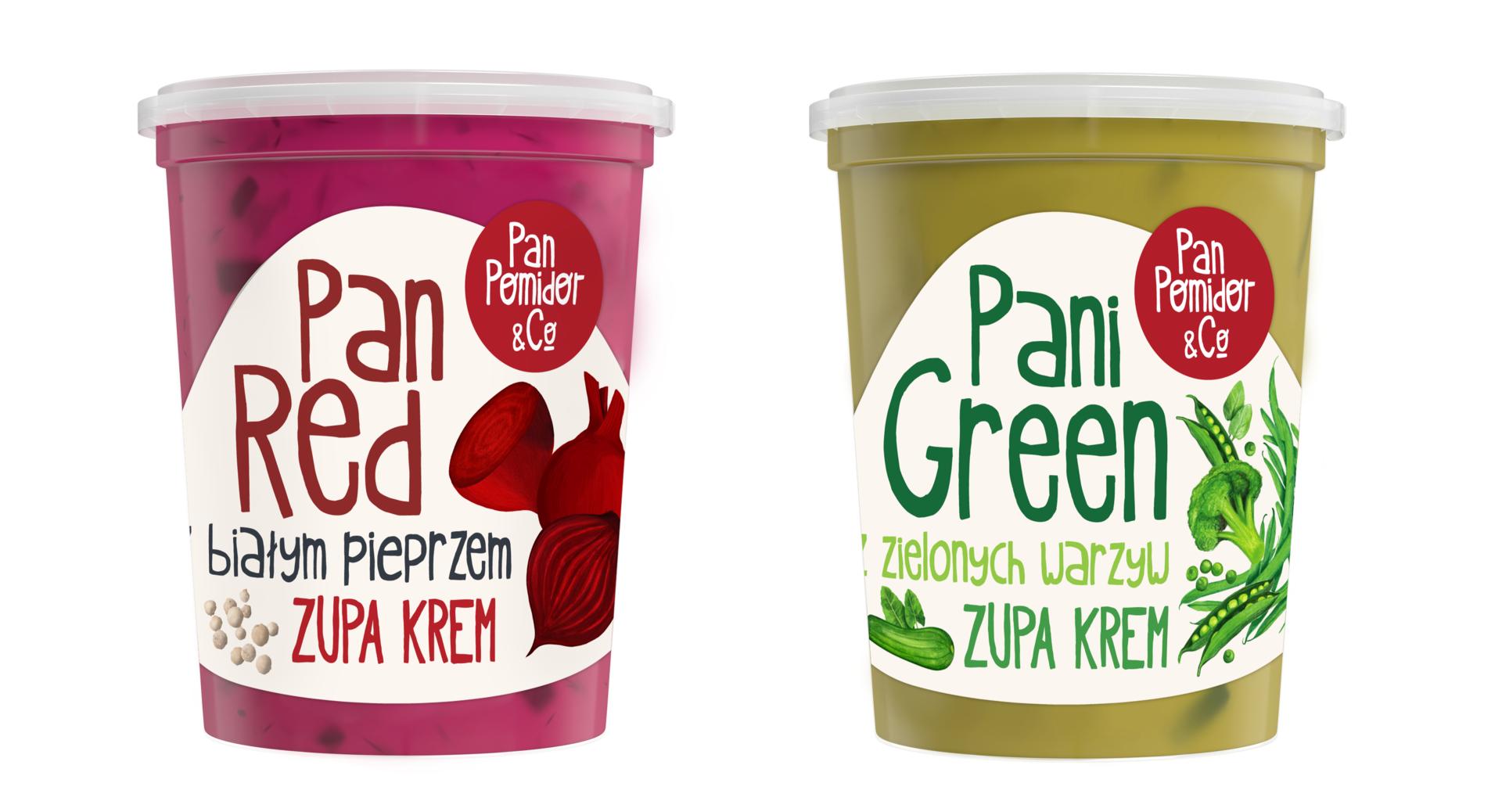 Pan Pomidor & Company rozszerza kategorię dań gotowych o dwie nowe zupy krem  - Pana Red i Panią Green