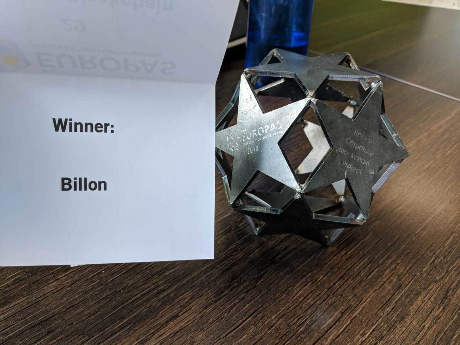 Billon wins Best Corporate Blockchain Project at The Europas Awards