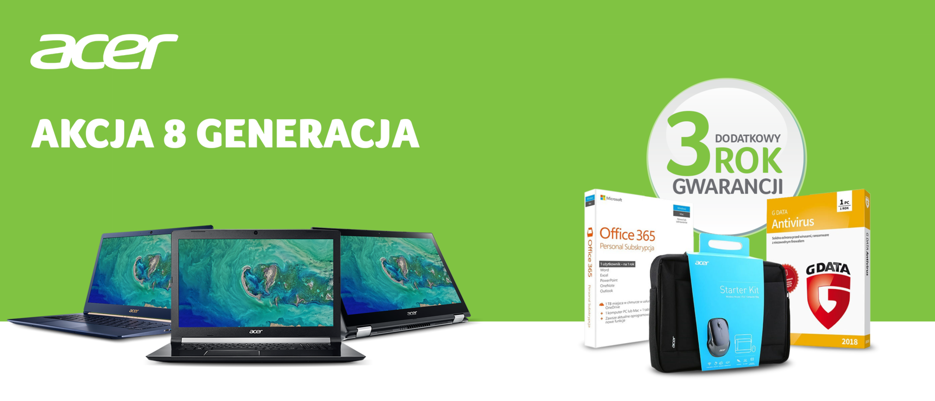 Acer stawia na laptopy z procesorami Intel Core 8. generacji i dodaje wyjątkowy pakiet
