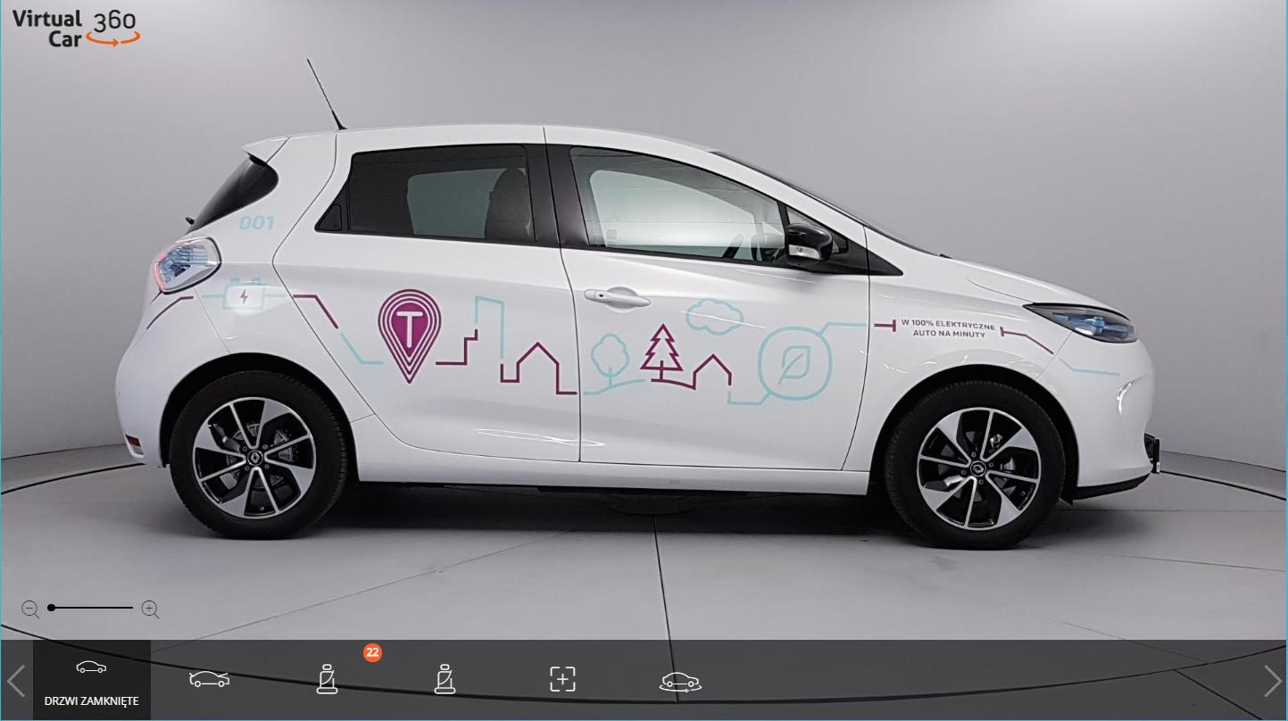 W 100% elektryczne Renault ZOE w widoku 360 dzięki Virtual Car 360 Player