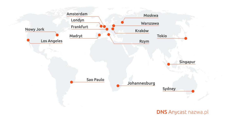 Technologia DNS Anycast na 6 kontynentach
